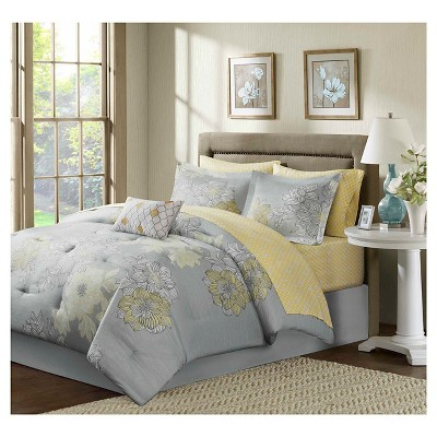 Cornell Floral Comforter and Sheet Set Gray - 9-Piece