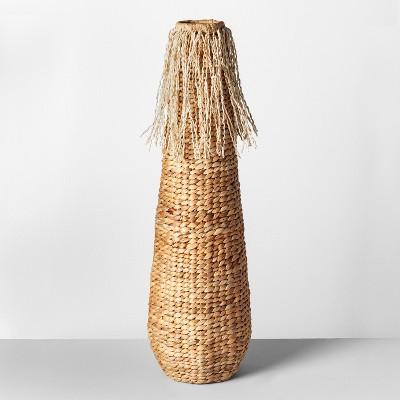 31.8  x 10  Decorative Water Hyacinth Fringe Vase Natural - Opalhouse™