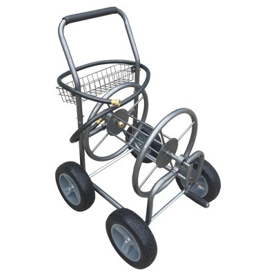4-Wheel Steel Hose Reel Cart with semi pneumatic tires 300ft-5/8  Hose - Backyard Expressions®