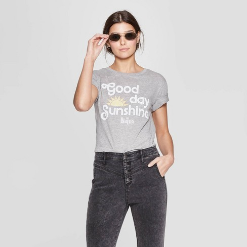 fc140b91 Women's The Beatles Short Sleeve Crewneck Good Day Sunshine T-Shirt ...