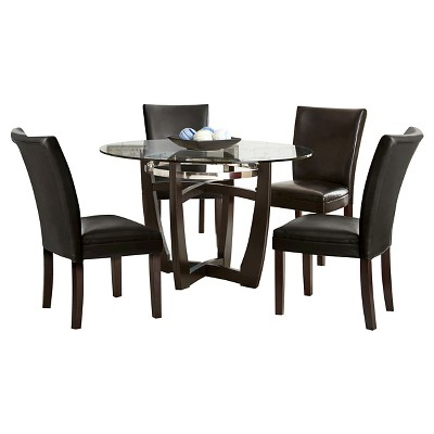 5 Piece Margo Dining Table Set Wood/Brown/Black   Steve Silver Company