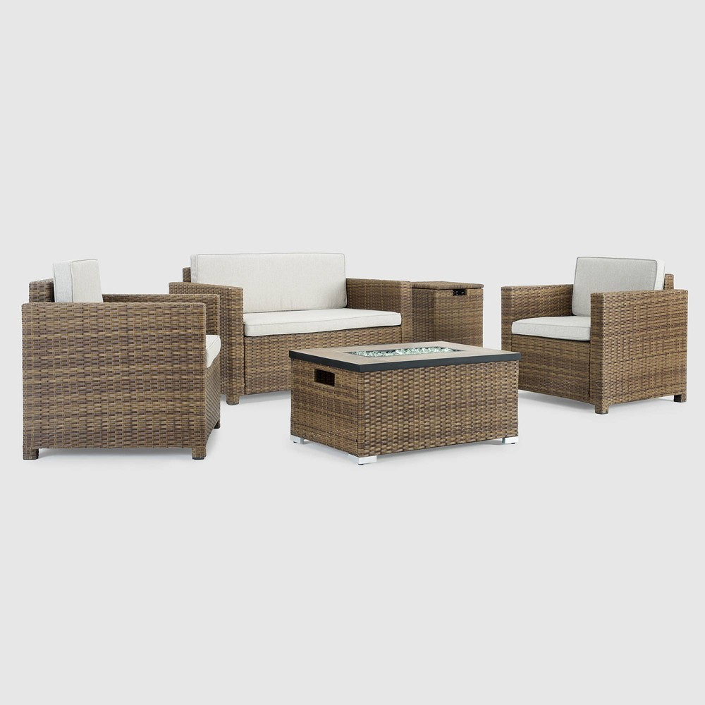 Boulder 4pc Patio Fire Seating Set - Brown - Sego Lily
