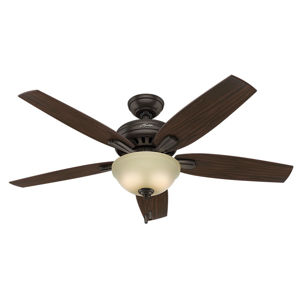 52 34 Newsome Glossy Ceiling Fan Bronze With Light Hunter