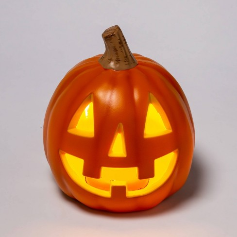 "9"" Light Up Orange Happy Face Halloween Jack-O'-Lantern (Triangle Eyes with 3 Teeth) - Hyde & EEK! Boutique™ - image 1 of 3"
