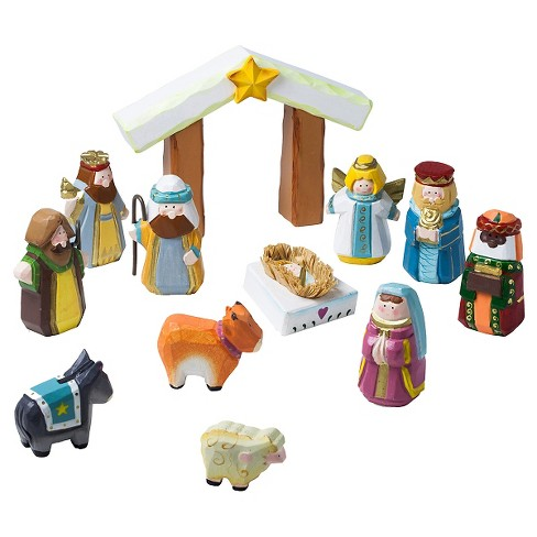 Hand-Carved Child's 1st Nativity Set - image 1 of 1