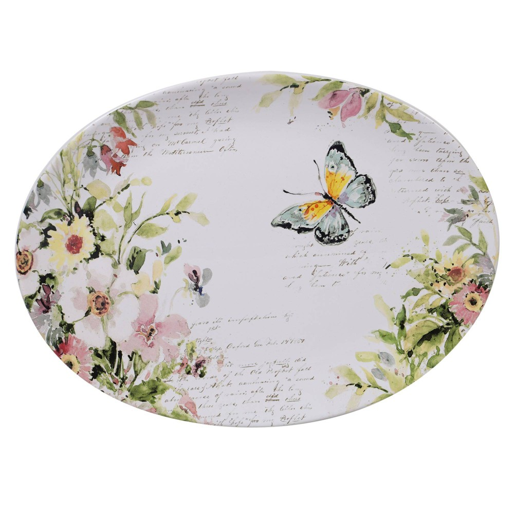 "Image of ""12"""" Earthenware Spring Meadows Oval Serving Platter - Certified International"""