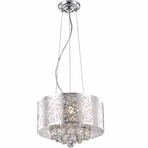 Elegant Lighting 2078d14 Prism 14 Wide 3 Light Full Sized Single Drum Pendant With Crystal Accents Target