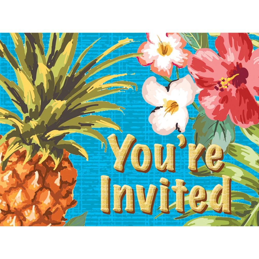 8ct Aloha Invitations, Cards and Card Packs