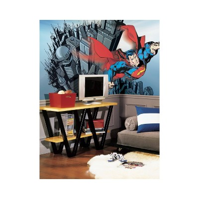 6'x10.5' Superman Chair Rail Ultra Strippable Prepasted Mural - RoomMates