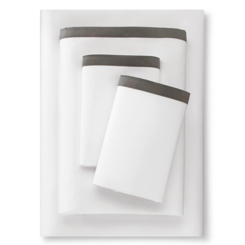 Banded Hem Supima Sheet Set (Full) Skyline Gray - Fieldcrest