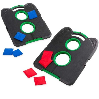 HearthSong Pick-Up-and-Go Portable Cornhole Game Set for Kids' Indoor and Outdoor Active Play, with Two Double-Holed Boards and Eight Cornhole Bags
