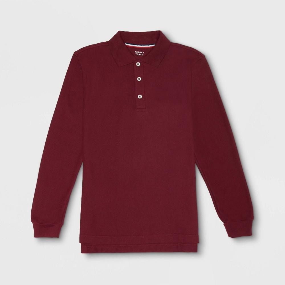 Image of French Toast Boys' Long Sleeve Pique Uniform Polo Shirt - Burgundy XL, Boy's, Red