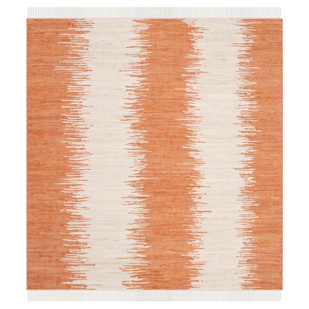 Flatweave Ikat Stripe Area Rug Orange 6 39 Square Safavieh