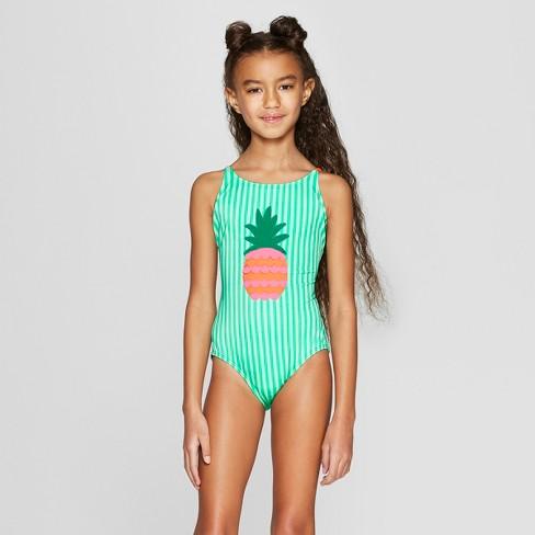 fbea8900241 Girls  Summer Fun One Piece Swimsuit - Cat   Jack™ Green XL Plus ...