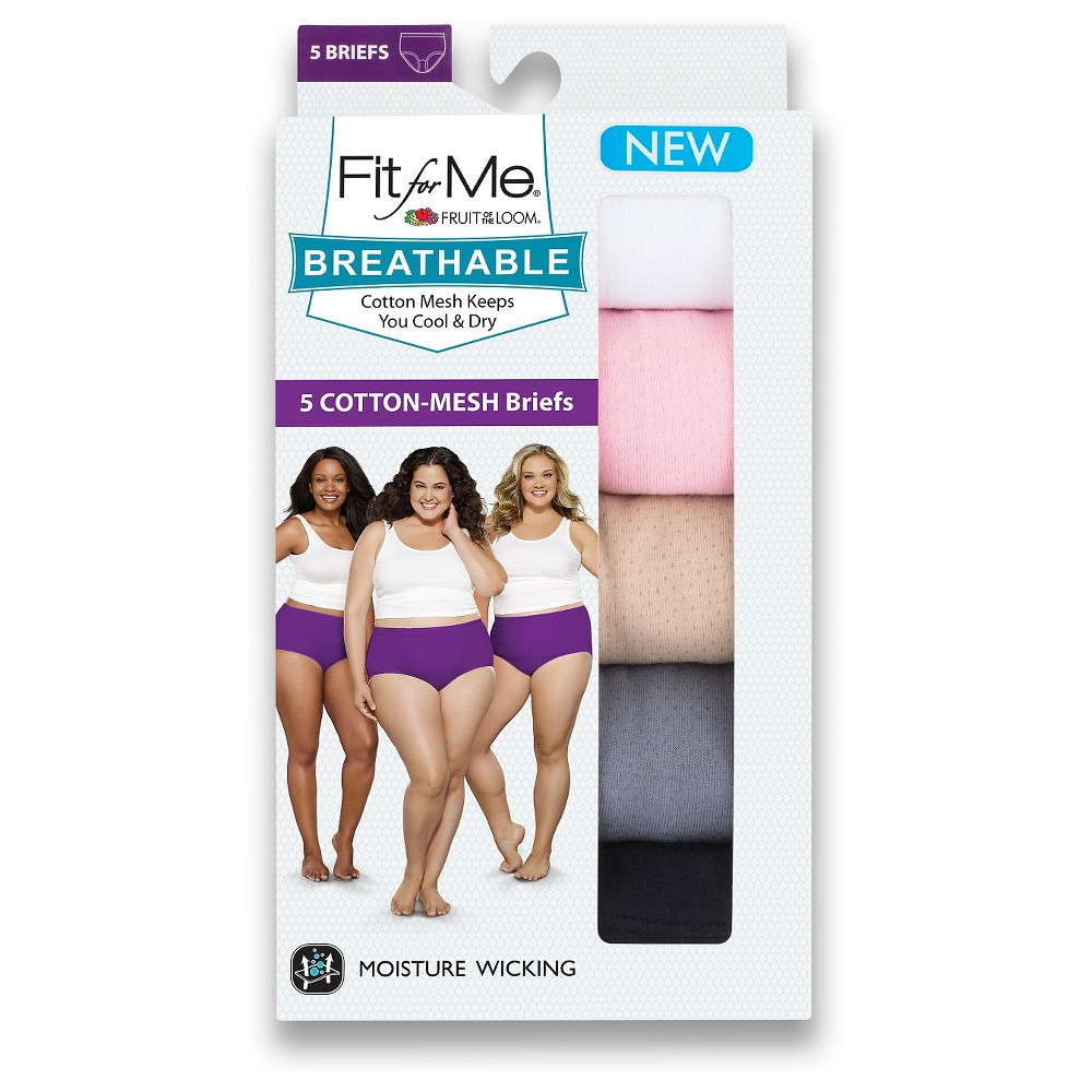 Plus Size Fit for Me by Fruit of the Loom Women's Plus 5pk Breathable Cotton Briefs- Colors May Vary 9, Multicolored