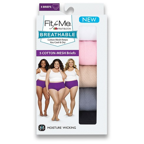 Fit for Me® by Fruit of the Loom® Women's Breathable Cotton Briefs 5-Pack - Multi-Colored - image 1 of 4