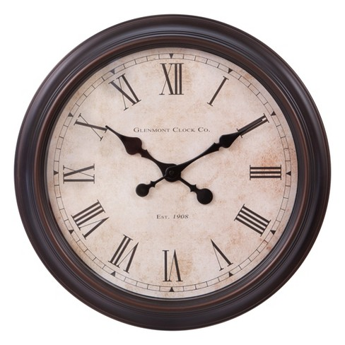 18 X18 Antique Bronze Wall Clock Patton Decor