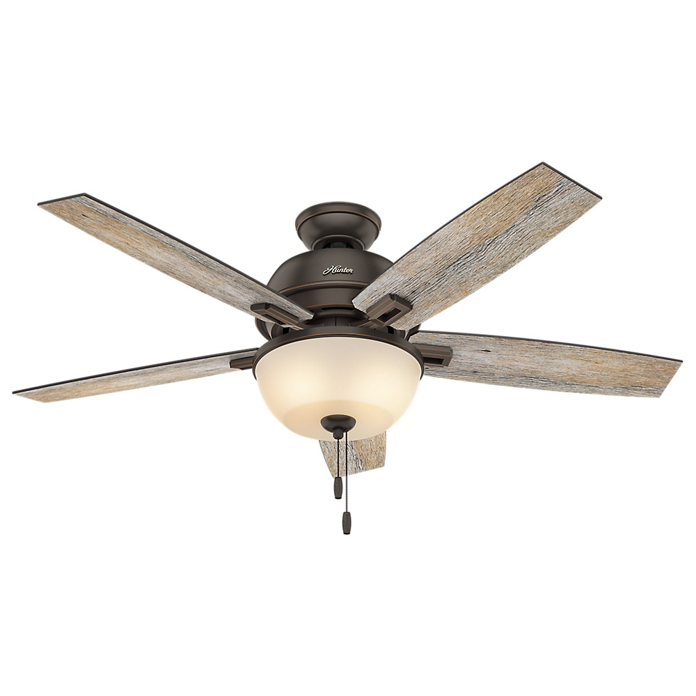 """Image of """"52"""""""" Donegan Bowl Bengal Ceiling Fan with Light Onyx - Hunter Fan"""""""