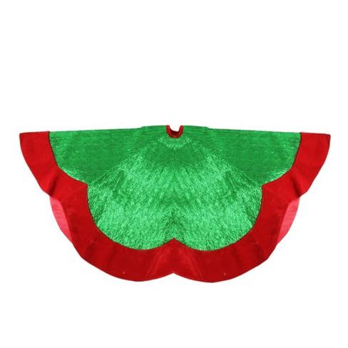 Northlight 60 Metallic Green And Red Trim Scalloped Edge Christmas Tree Skirt Target