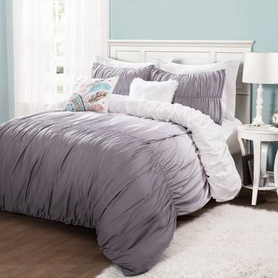 4pc Twin/Twin XL Umbre Fiesta Comforter & Sham Set Gray - Lush Décor