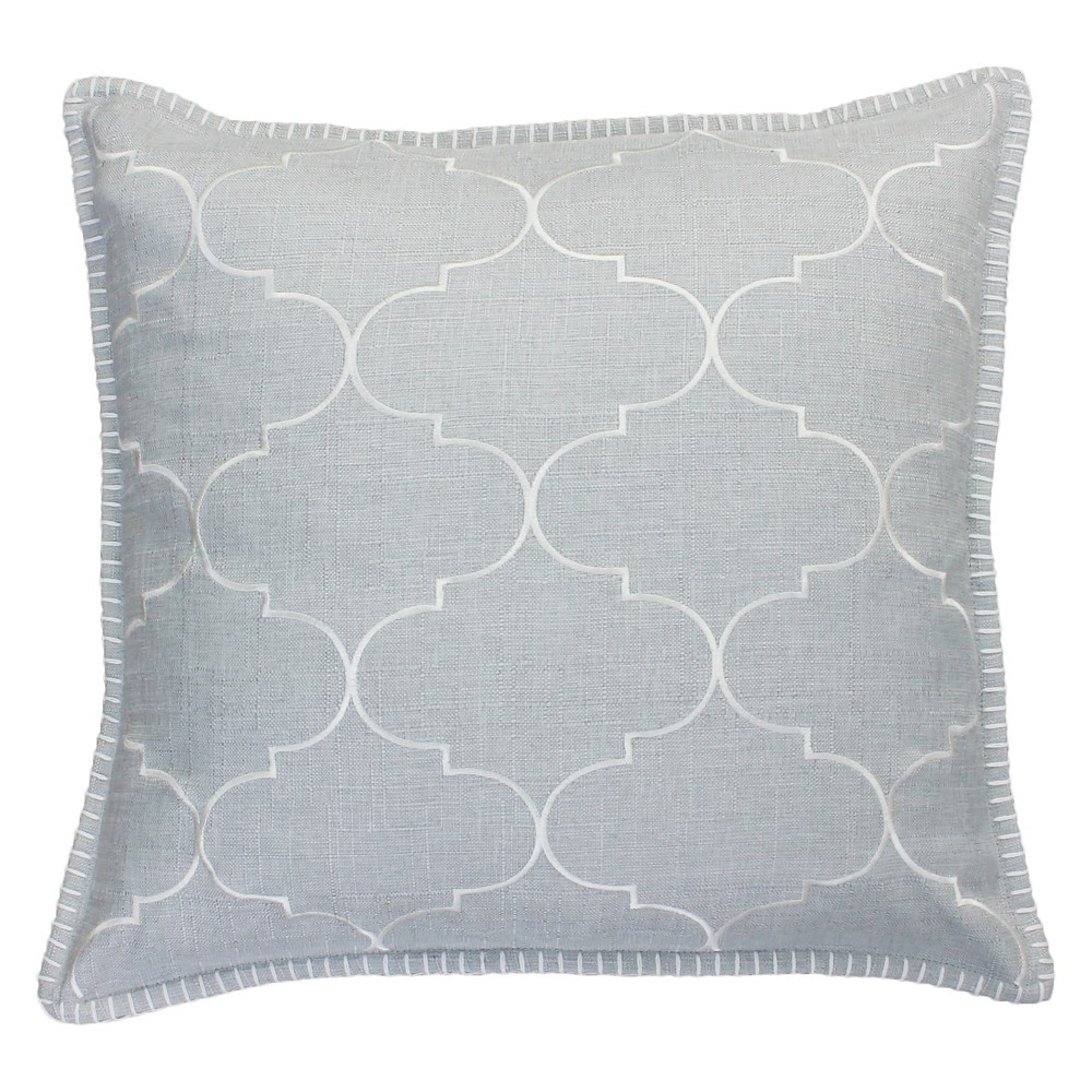Image of Ava Whipstitch Embroidered Square Throw Pillow Silver - Decor Therapy