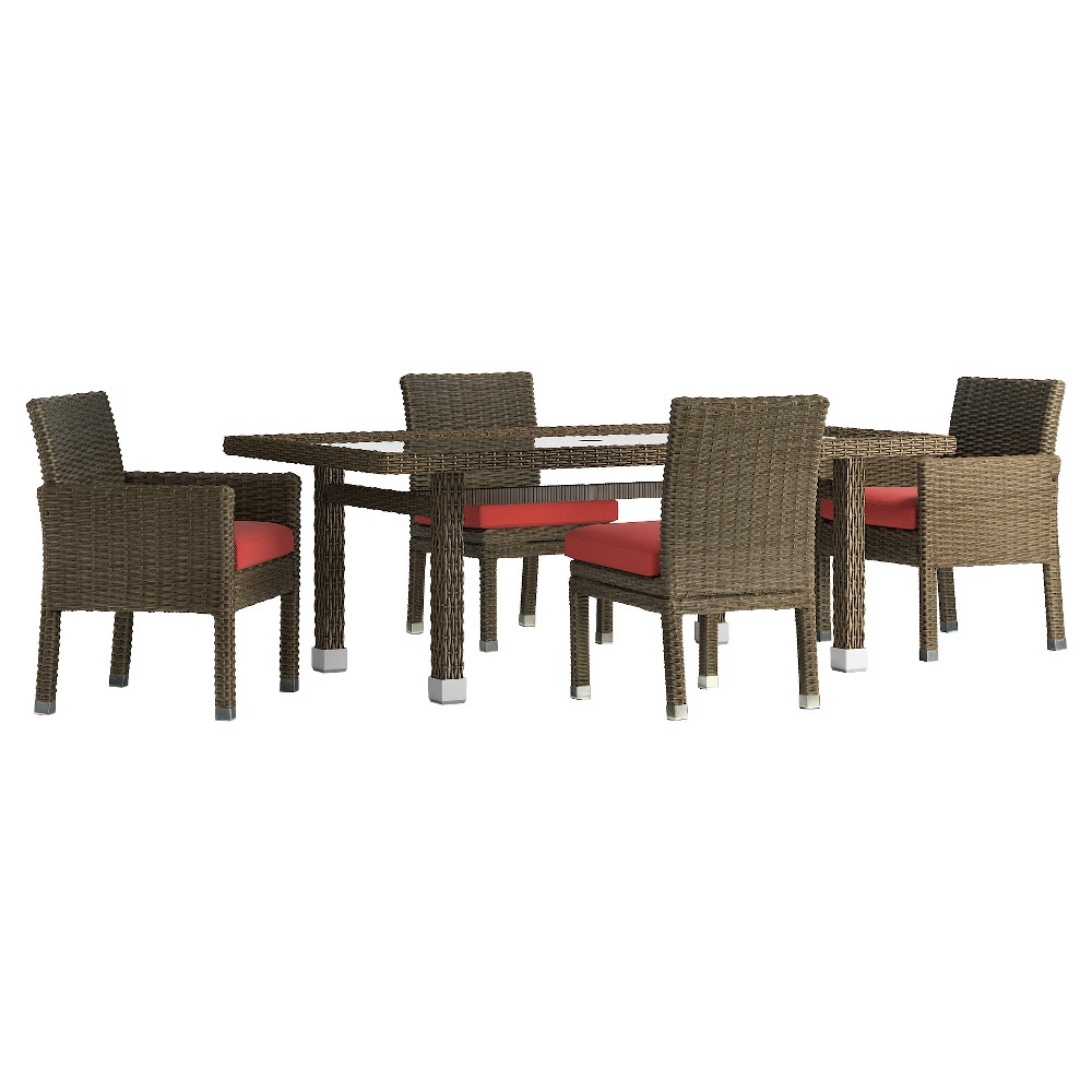Riviera Pointe 5pc Rectangle All-Weather Wicker Patio Glass Top Dining Set w/ Cushions - Mocha/Red - Inspire Q