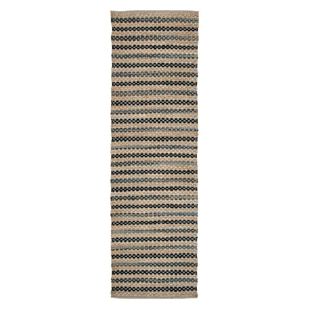 2'2X8' Stripe Woven Runner Gray/Black - Safavieh