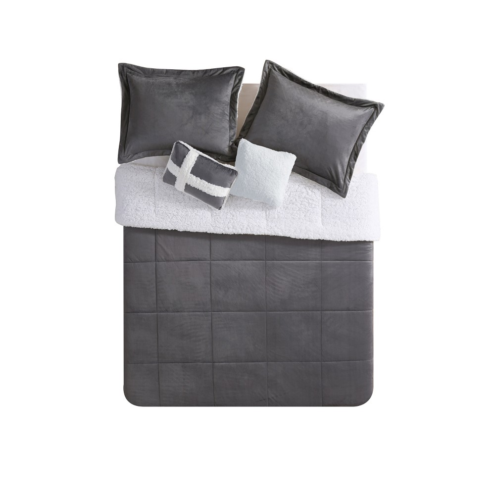 Twin Micro Mink Comforter Set Charcoal (Grey) - Vcny Home
