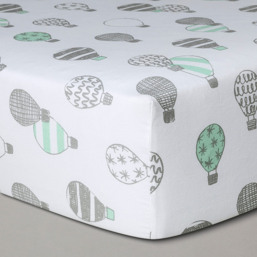 Crib Fitted Sheet Hot Air Balloons - Cloud Island Gray