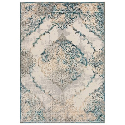 Hillsby Distressed Medallion Rug Blue - Addison Rugs