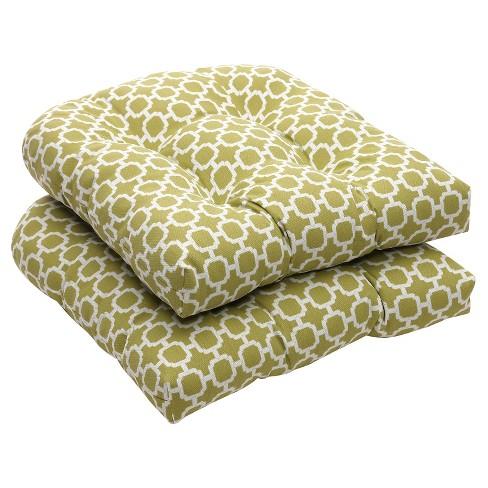 Outdoor 2 Piece Wicker Chair Cushion Set Green White Geometric Target