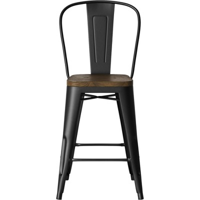 Carlisle Wood Seat Backed Counter Height Barstool Matte Black - Threshold™