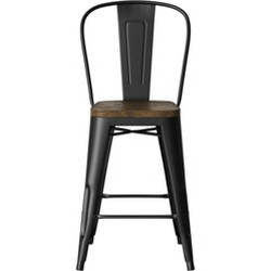Fantastic Luxor 24 Metal Counter Stool With Wood Seat Set Of 2 Gmtry Best Dining Table And Chair Ideas Images Gmtryco