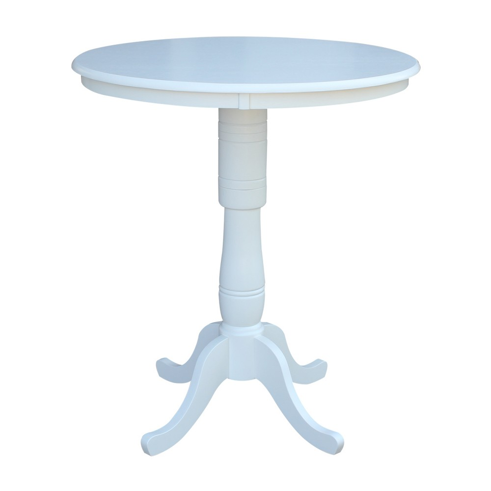 36 Round Top Pedestal Bar Height Table White - International Concepts