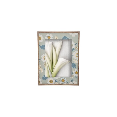 Blue Floral Pattern 5 x 7 inch Decorative Wood Picture Frame - Foreside Home & Garden