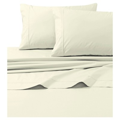 Cotton Percale Solid Sheet Set (Queen)Ivory 300 Thread Count - Tribeca Living