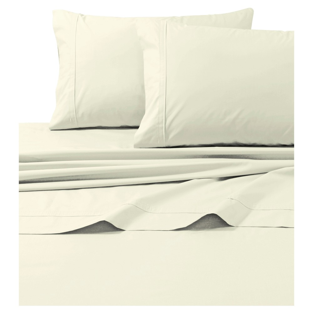 Cotton Percale Solid Sheet Set (Twin) Ivory 300 Thread Count - Tribeca Living