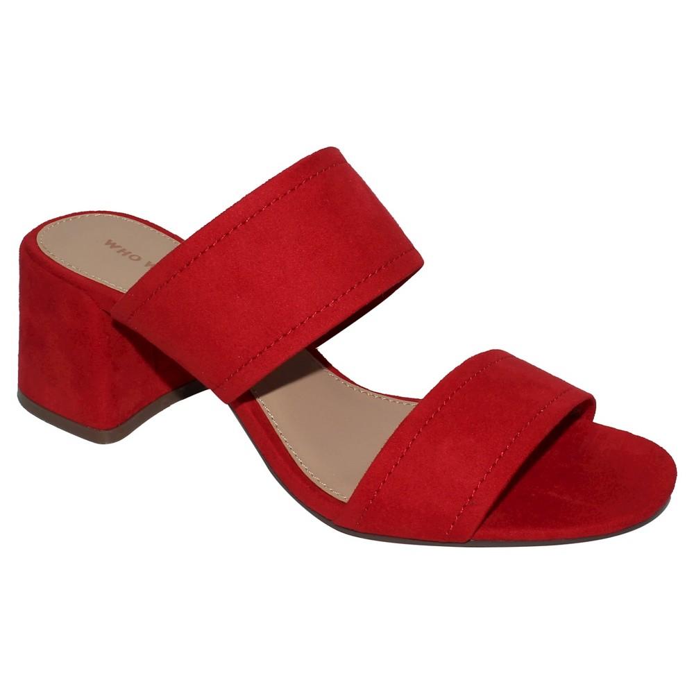 Women's Carolina Double Band Block Heel Slide Sandals - Who What Wear Red 8