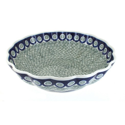 Blue Rose Polish Pottery Peacock Swirl Large Scallop Bowl - image 1 of 1