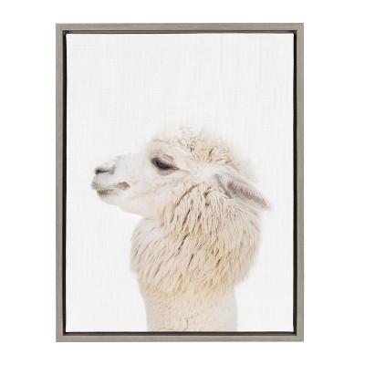 Kate & Laurel 24 x18  Sylvie Studio Alpaca Animal Print Portrait By Amy Peterson Framed Wall Canvas Gray