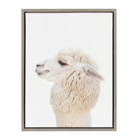 "Kate & Laurel 24""x18"" Sylvie Studio Alpaca Animal Print Portrait By Amy Peterson Framed Wall Canvas Gray - image 1 of 5"