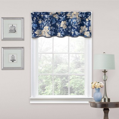 """16""""x52"""" Floral Window Valance Indigo - Traditions by Waverly"""