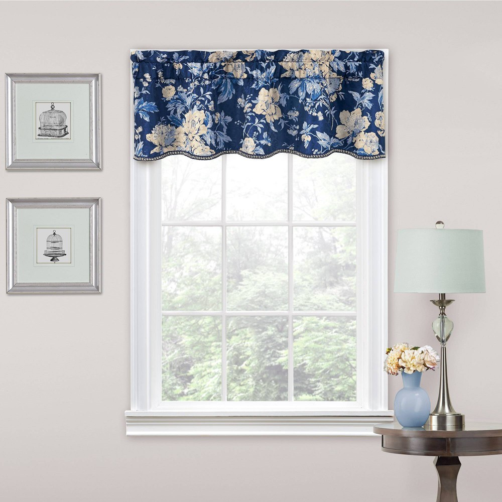 "Image of ""16""""x52"""" Floral Window Valance Blue - Traditions by Waverly"""
