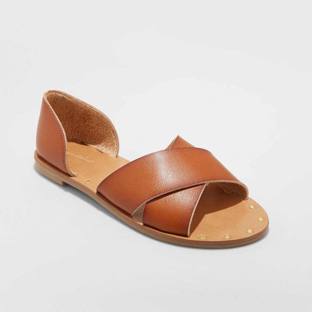 Women 39 S Lois Faux Leather Crossband Slide Sandals Universal Thread 8482 Cognac 7 5