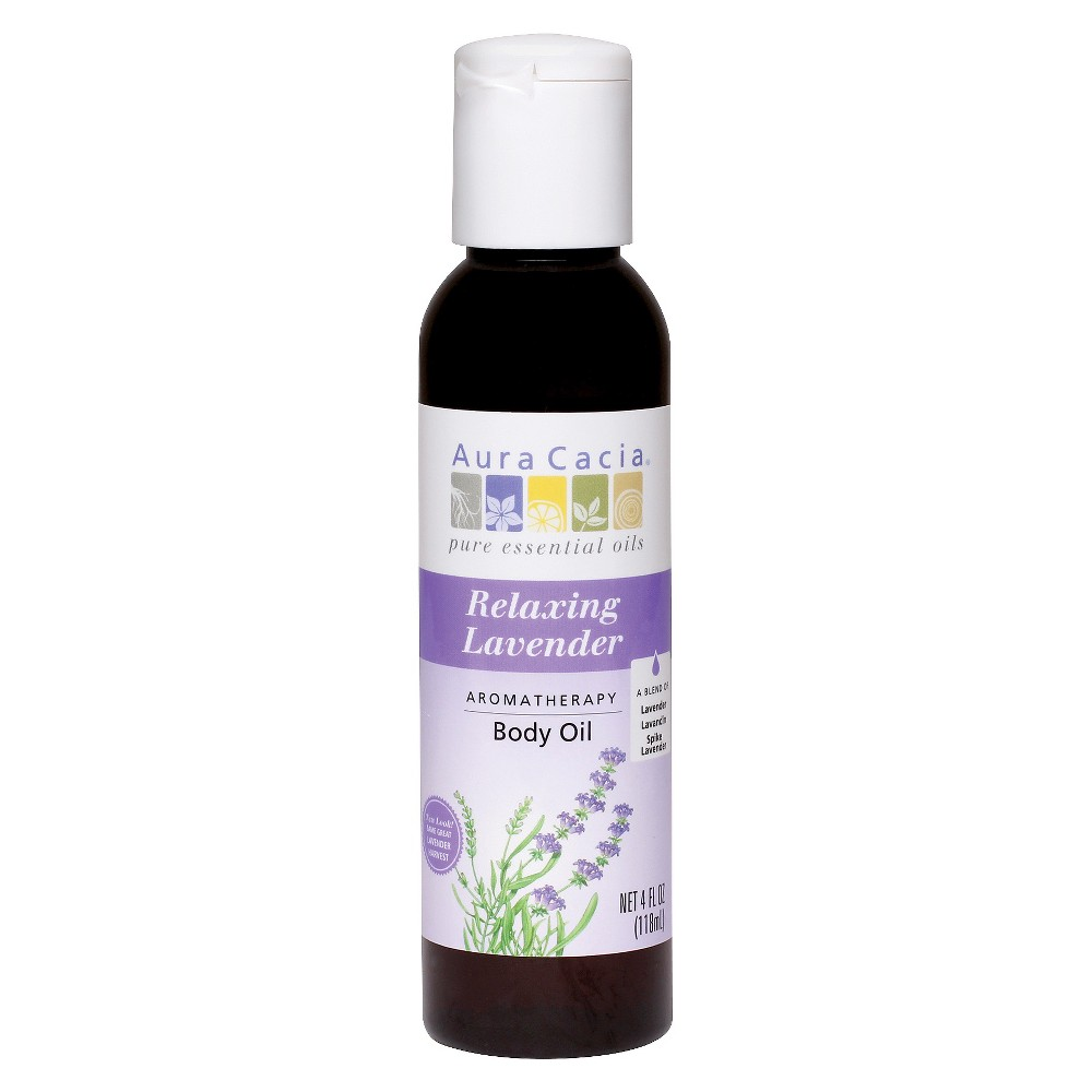 Image of Aura Cacia Relaxing Lavender Aromatherapy Body Oil - 4 oz, Clear