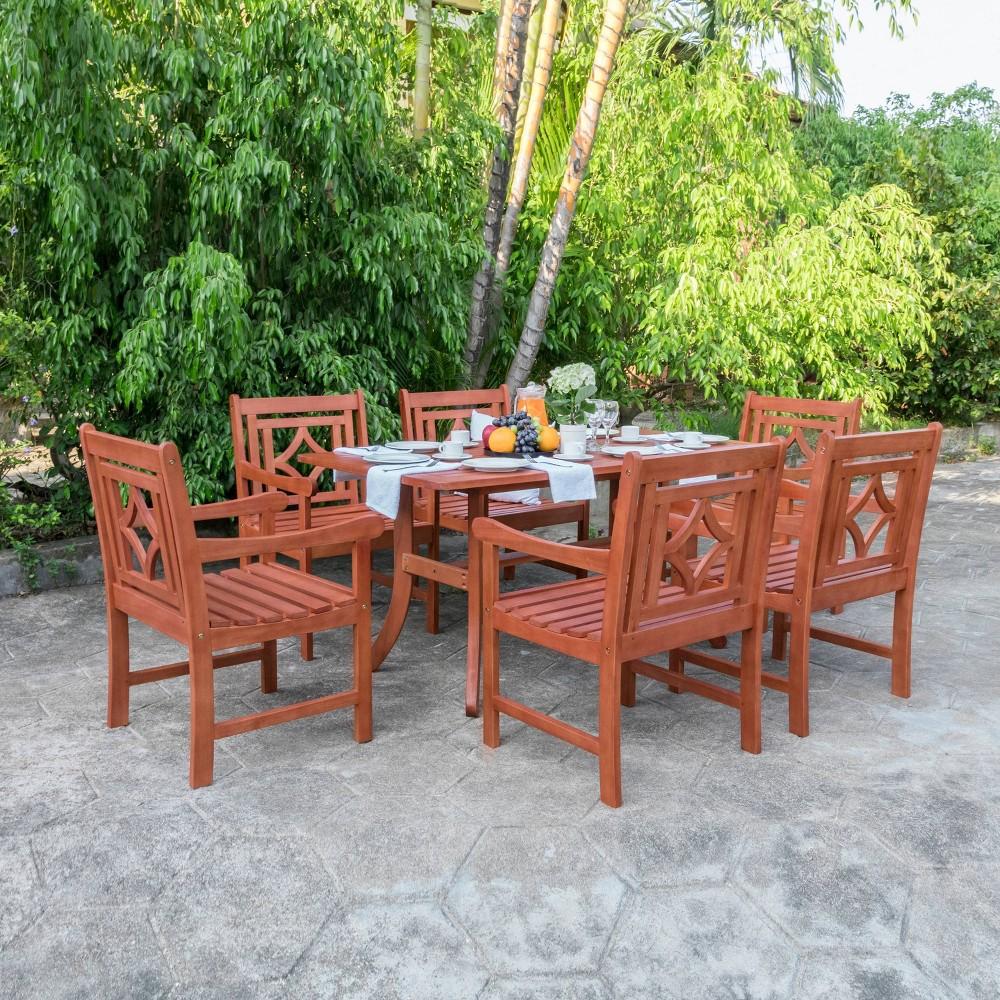 Malibu 7pc Wood Outdoor Patio Dining Set - Tan - Vifah -  V189SET39