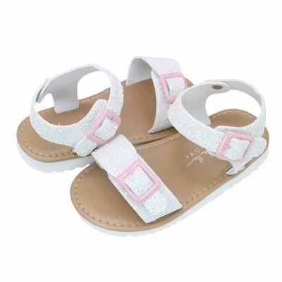 Nicole Miller Toddler Girls' Double Strap Hardsole Sandals
