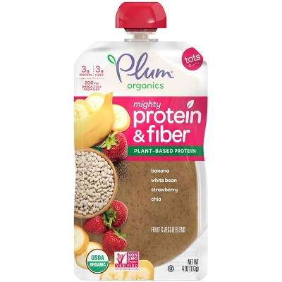 Plum Organics Mighty Protein & Fiber Banana White Bean Strawberry & Chia Baby Food Pouch - 4oz
