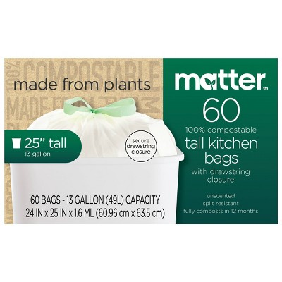 Matter 100% Compostable Tall Kitchen Trash Bags - 13 Gallon/60ct