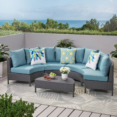 Newton 5pc Wicker Sectional Sofa Set - Gray/Teal - Christopher Knight Home